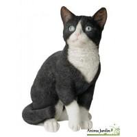 Chat Noir et blanc assis 30cm en résine, déco de jardin, Riviera, achat, animal