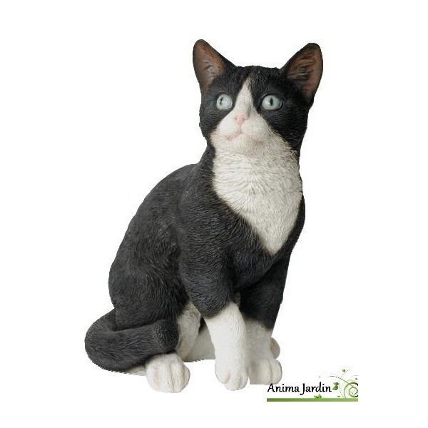 Chat noir et blanc assis 30cm en r sine d co de jardin for Decoration de jardin animaux