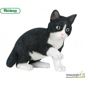 Chat Noir et blanc Jouant 35cm en résine, déco de jardin, Riviera, achat, animal