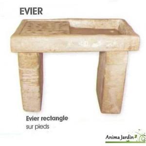 Evier en pierre reconstituée, style ancien, aspect vieilli, rectangulaire, Hairie