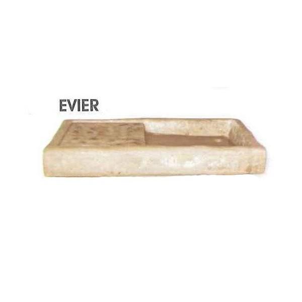 Evier en pierre reconstitu e style ancien aspect vieilli for Evier exterieur en pierre