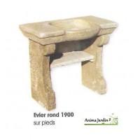 Evier 1900 en pierre reconstituée, rond, style ancien, aspect vieilli, Hairie