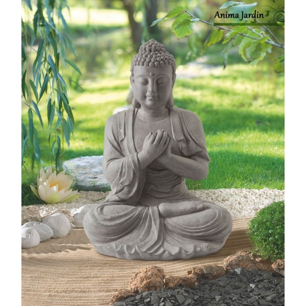 statue buddha 60 cm en fibre de verre aspect pierre d coration de jardin. Black Bedroom Furniture Sets. Home Design Ideas
