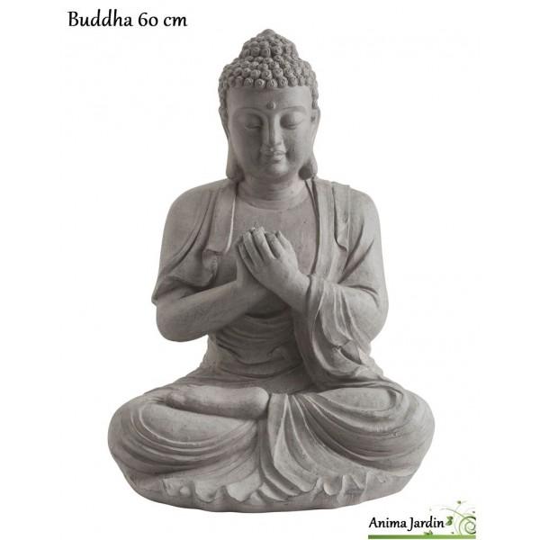 Buddha 60 Cm En Fibre De Verre, Aspect Pierre, Décoration De Jardin