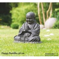 Statue Happy BUDDHA 48 cm en fibre de verre, aspect pierre, décoration de jardin