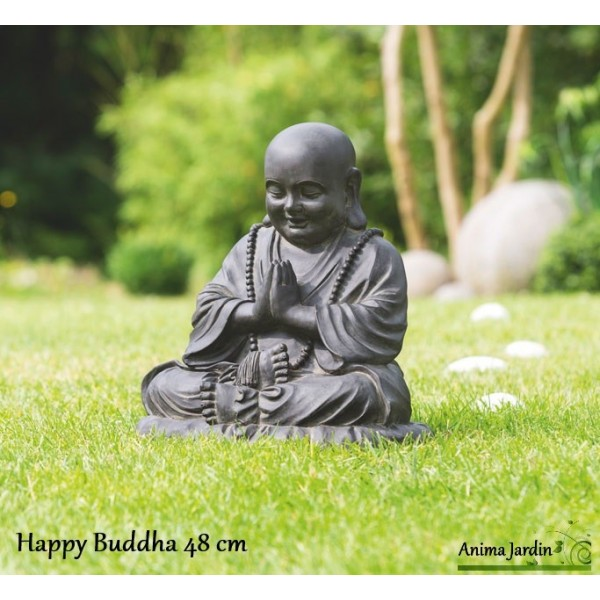 statue happy buddha 48 cm en fibre de verre aspect pierre. Black Bedroom Furniture Sets. Home Design Ideas