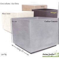 Bac carré en béton ciré, Gros-volume, Maxi, 97cm, Framusa, achat/vente