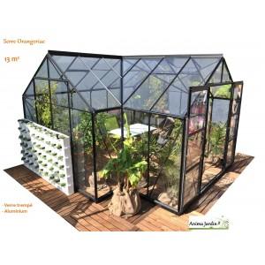serre de jardin orangeraie sirius verre tremp aluminium achat vente lams. Black Bedroom Furniture Sets. Home Design Ideas