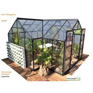 Serre de jardin, Orangeraie SIRIUS, verre trempé, Laqué noir, achat/vente, Lams