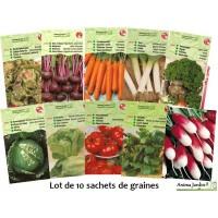 Lot 10 paquets graines légumes potager jardin ouvrier, salade, radis, tomate, carotte, poireau, pas cher, économique