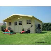 Abri de jardin en bois 28mm, 19.71m² ext, avec avancée, ZURICH, achat/vente