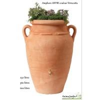 Récupérateur d'eau de pluie, Amphore ANTIK terracotta, avec bac plantes, GRAF