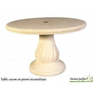 Table en pierre reconstituée, ronde 120cm, avec frise, Grandon, achat/vente
