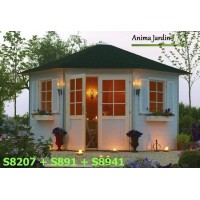 Abri de jardin d'angle, 28mm, solid, NANCY-S8207, pyramid, kiosque