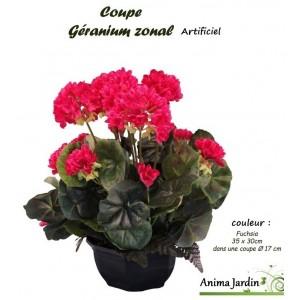 Coupe de Géraniums artificiels, 30/35cm, fleur artificielle, déco jardin, pas cher