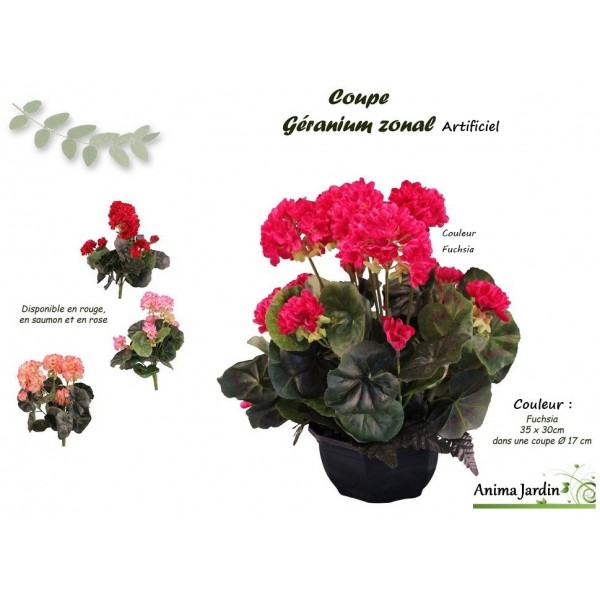 Coupe de g raniums artificiels 30 35cm fleur for Geranium artificiel jardiniere