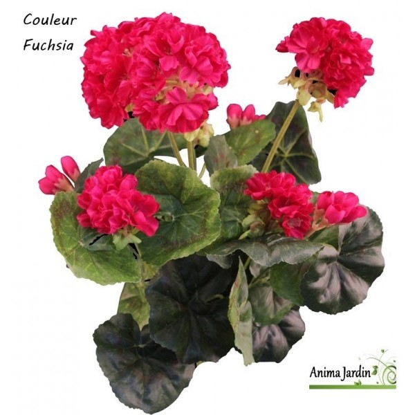 Pot de g raniums artificiels fleur artificielle d co for Deco jardin fleur