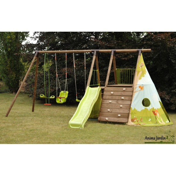 awesome aire de jeux fort jungle balanoire cabane mur varappe toboggan pas cher achat with. Black Bedroom Furniture Sets. Home Design Ideas