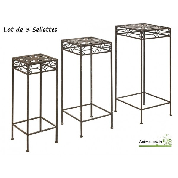 sellettes pour plantes 3 tailles m tal eph se support carr nort ne pas cher. Black Bedroom Furniture Sets. Home Design Ideas