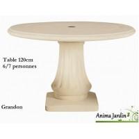 Table en pierre reconstituée, ronde 120cm, Grandon, achat/vente