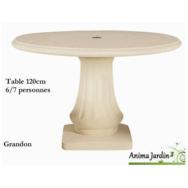 Table en pierre reconstitu e ronde 120cm grandon achat for Table jardin en pierre