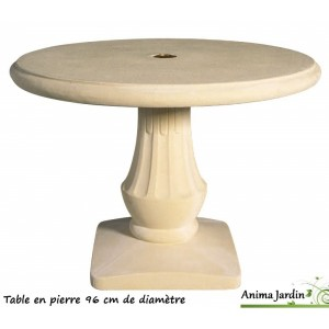 Table en pierre reconstitu e ronde 96cm grandon achat vente for Table jardin en pierre