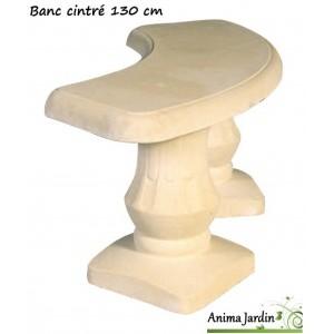 Banc cintré 130 cm en pierre reconstituée Romantique, Grandon, achat/vente