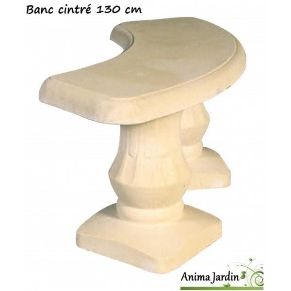 banc cintr 130 cm en pierre reconstitu e romantique grandon achat vente. Black Bedroom Furniture Sets. Home Design Ideas