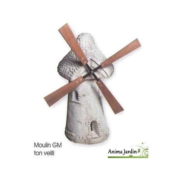 Moulin de jardin avec roue blanc vieilli 80 cm en for Pierre de decoration pour jardin