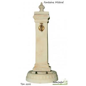 Fontaine Mistral, borne, en pierre reconstituée 108cm, ton ocre, achat/vente