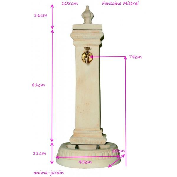 Fontaine Mistral, borne, en pierre reconstituée 108cm, ton ocre ...