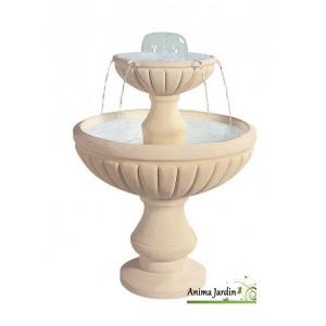 Fontaine Cascade en pierre reconstituée, 2 vasques, H 98 cm, grandon ...