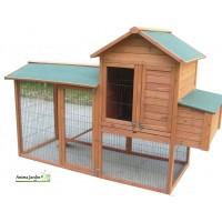 Poulailler 5-8 poules, volière, pondoir, bois teinté, pas cher, achat/vente