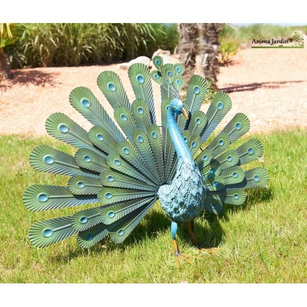 Paon en m tal animal d coratif stylis ext rieur for Deco exterieur jardin