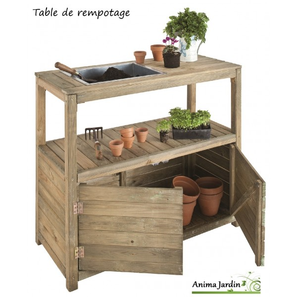 table de rempotage et semis en bois 2 portes jardipolys achat pas cher. Black Bedroom Furniture Sets. Home Design Ideas