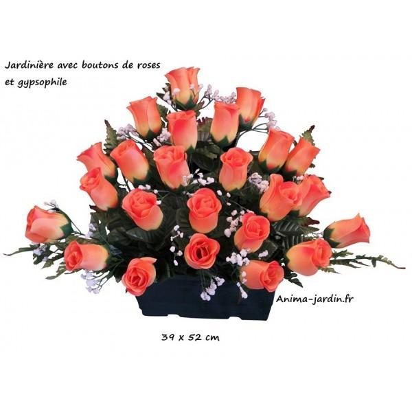 jardinière boutons de rose, fleur artificielle en tergale