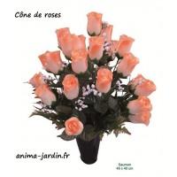 Cône, vase, boutons de rose, fleur artificielle en tergale, toussaint, rameaux