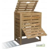 Composteur de jardin en bois, 400 litres en pin traité autoclave, burger, pas cher
