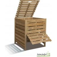 Composteur de jardin en bois, 800 litres en pin traité autoclave, burger, pas cher