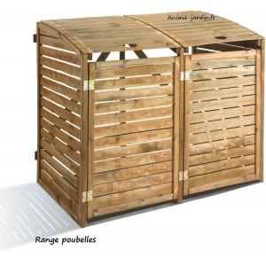Cache poubelle double en  bois, Rangement poubelle, First, achat/vente