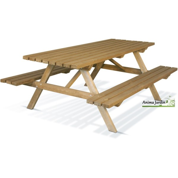 Table pique nique en bois foresti re 200x75 cm achat - Grande table de jardin pas cher ...