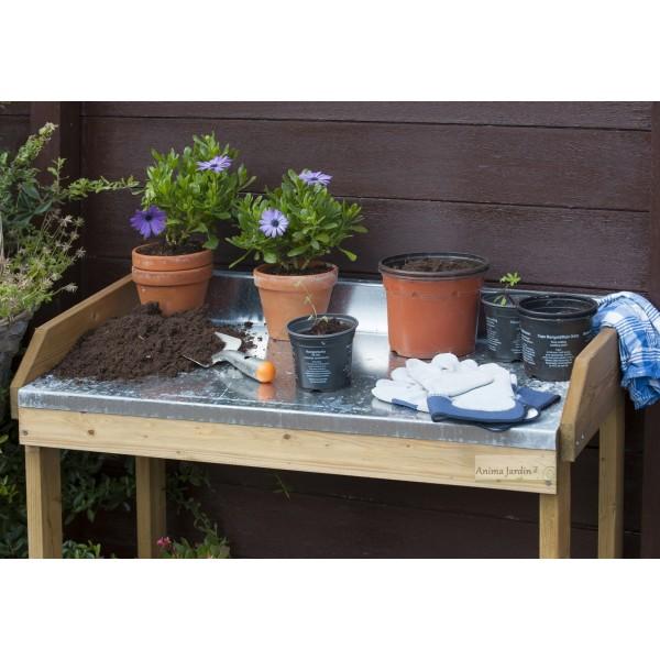 Table de rempotage et semis en bois dessus en zinc achat for Achat de plantes pas cher