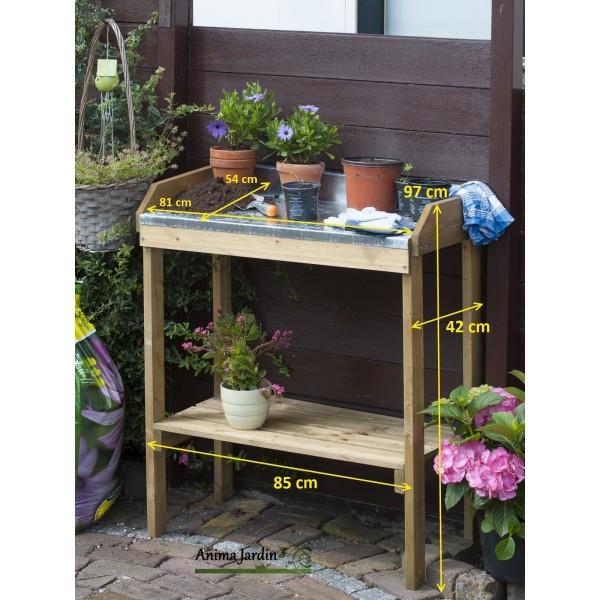 table de rempotage et semis en bois dessus en zinc achat pas cher. Black Bedroom Furniture Sets. Home Design Ideas