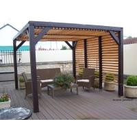 Belle pergola toiture ombragée, avec ventelles, carport design
