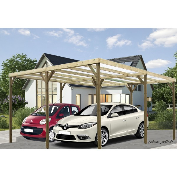 carport double bois autoclave abri pour 2 voitures pas cher. Black Bedroom Furniture Sets. Home Design Ideas