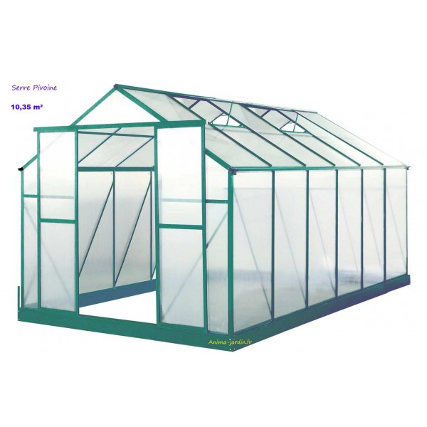 serre de jardin en polycarbonate pivoine 10 35 m achat vente. Black Bedroom Furniture Sets. Home Design Ideas