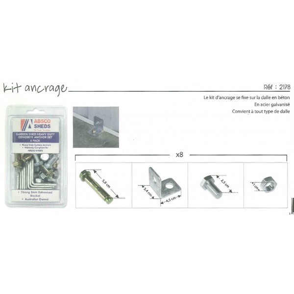 kit d 39 ancrage sur dalle b ton abri de jardin m tal madeira achat. Black Bedroom Furniture Sets. Home Design Ideas