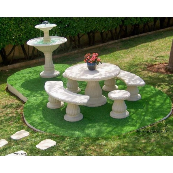 Table en pierre reconstitu e ronde 120cm avec frise for Salon de jardin en beton cire