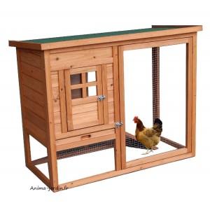 Poulailler 2 poules, volière grillagée, bois teinté, pas cher, achat