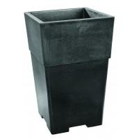 Bac,Vase, pot carré en béton ciré ardoise